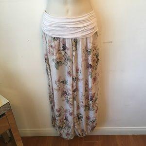Pants - Bohemian style, light pink floral, gypsy pants